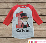 Boy's Birthday Outfit - Magician Birthday Shirt - Onepiece or Tshirt - First Birthday Outfit - Red Raglan Birthday Shirt - 1st Birthday Top