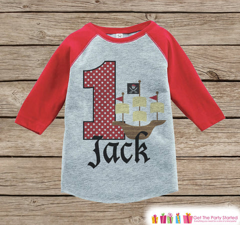 Boy's Birthday Outfit - Pirate Birthday Shirt - Onepiece or Tshirt - First Birthday Outfit - Red Raglan Birthday Shirt - 1st Birthday Top
