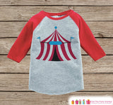 Baby Boy's Outfit - Circus Tent Red Raglan Shirt - Novelty Baby Boy's Onepiece or Tshirt - Novelty Raglan Tee for Baby Boys, Toddler, Infant