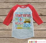 First Day of Kindergarten Outfit - Personalized Kindergarten Stats Shirt - Kids Stats Red Raglan - My 1st Day of School Outfit - Girl or Boy - Get The Party Started