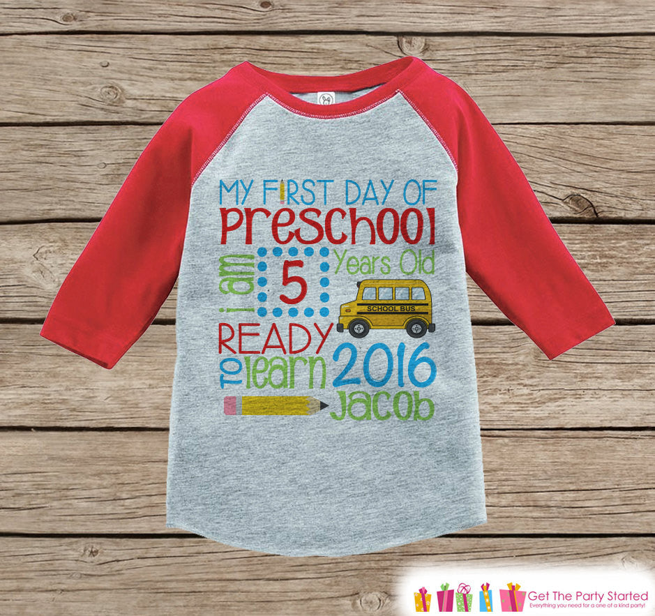 65909db1b ... Personalized Preschool Stats Shirt - Kids Stats Red Raglan - My 1st Day  of School Outfit - Girls or Boys. Kids Clothing