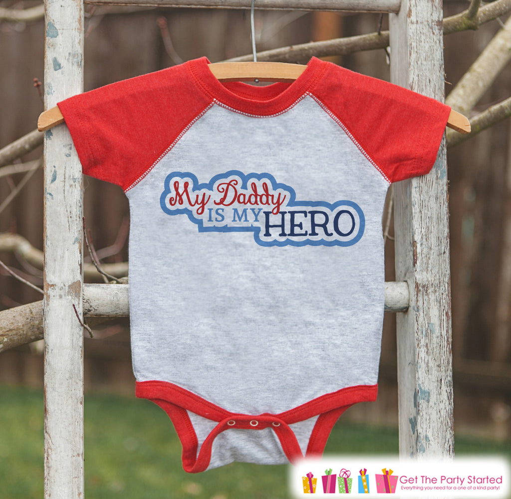 Baby Boy's Father's Day Outfit - Red Raglan Shirt - Daddy Is My Hero - Military Outfit - Happy Fathers Day Onepiece or Tshirt - 4th of July