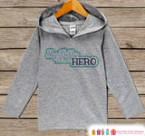 Baby Boy's Father's Day Hoodie - Grey Kids Hoodie - Daddy Is My Hero - Military Outfit - Toddler Boys Happy Fathers Day Shirt - 4th of July - Get The Party Started