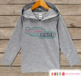 Baby Girls Father's Day Hoodie - Grey Kids Hoodie - Daddy Is My Hero - Military Outfit - Toddler Girls Happy Fathers Day Shirt - 4th of July - Get The Party Started