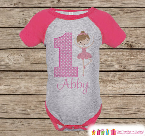 Girls First Birthday Ballerina Outfit - Girls 1st Birthday Onepiece or Tshirt - Pink Raglan Shirt - 1st Birthday Raglan Tee for Baby Girls