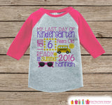 Girls Last Day of Kindergarten Outfit - Personalized Kindergarten Stats Shirt - Kids Stats Pink Raglan - Girls My Last Day of School Tshirt - Get The Party Started