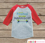 Boys First Day of Preschool Outfit - Custom Personalized Preschool Shirt - Kids Arrows Red Raglan Tee - Boys My 1st Day of School Outfit