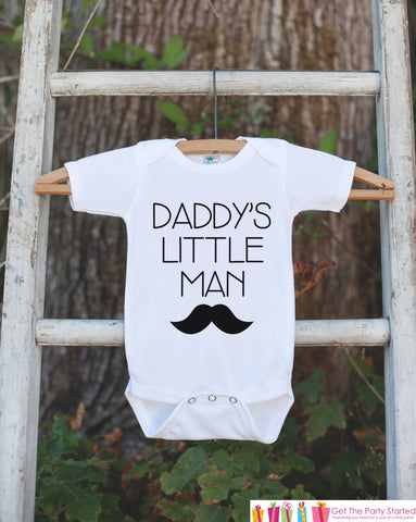 Daddy's Little Man Mustache Outfit - Boys Happy First Father's Day Onepiece or Tshirt - Boys, Youth, Toddler, Kids, Baby Shower Gift Idea