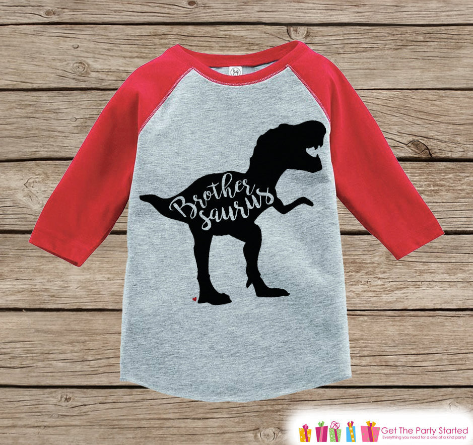 Toddler Dinosaur Shirt - Sibling Shirts, Brother, Sister - Kids Red Raglan Shirt - Kids Baseball Tee - Kids Dinosaur Shirt - Toddler, Youth - Get The Party Started