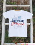 Girls 4th of July Outfit - All American Princess Onepiece or Tshirt - Fourth of July Shirt for Baby Girls - Kids Patriotic Shirt - July 4th - Get The Party Started