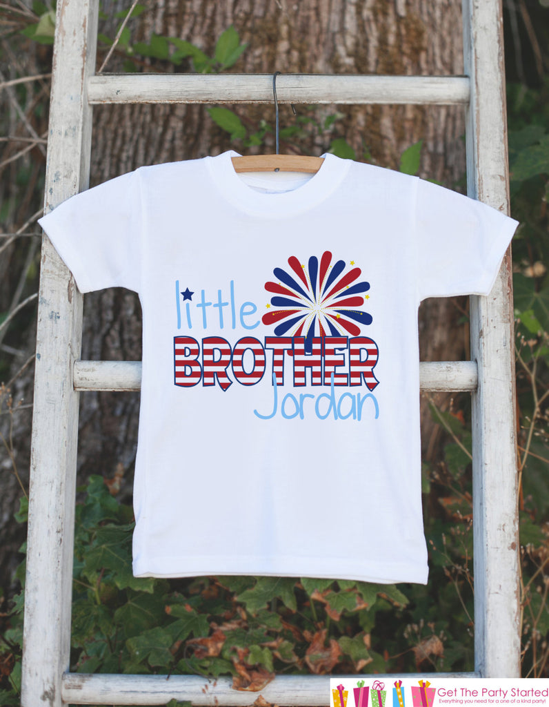 Boys 4th of July Outfit - Custom Little Brother Onepiece or Tshirt - Fourth of July Shirt for Baby Boys - Kids Patriotic Shirt - 4th of July