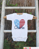 4th of July Outfit - Custom American Flag Heart Onepiece or Tshirt - Fourth of July Shirt for Baby, Youth, Toddler - American Pride Shirt