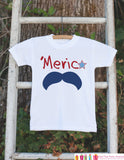 Kids 4th of July Outfit - 'Merica Mustache Onepiece or Tshirt - Fourth of July Shirt for Baby, Toddler, Youth - Kids Patriotic Shirt - Get The Party Started