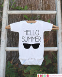 Hello Summer Onepiece or Tshirt - Summer Outfit For Kids, Infants -  Summer Onepiece or Shirt, Baby, Youth, Toddler - Summer Sunglasses - Get The Party Started