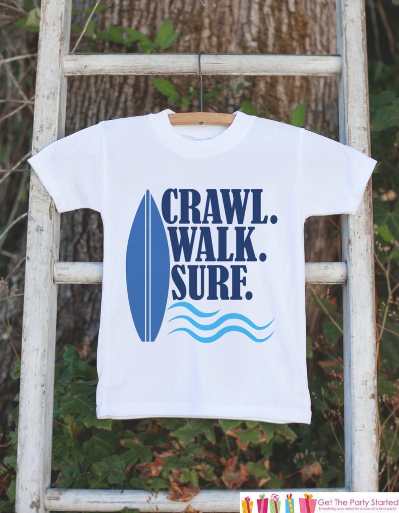 Crawl Walk Surf Onepiece or T-shirt - Summer Outfit For Kids, Infants - Summer Onepiece or Shirt, Baby, Youth, Toddler - Fun Summer Outfit