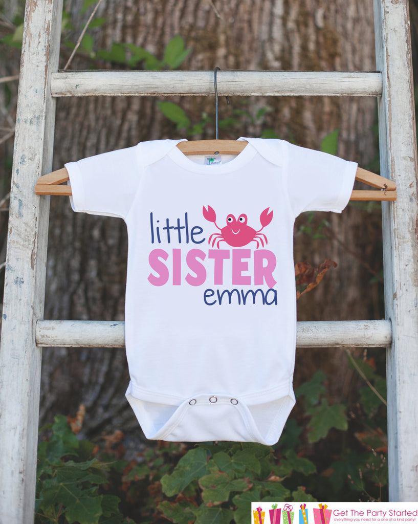 Little Sister Crab Onepiece or T-shirt - Custom Summer Outfit For Kids, Infants - Summer Onepiece or Shirt, Baby, Youth, Toddler