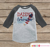 Daddy's Little Firecracker Onepiece or T-shirt - Custom 4th of July Outfit - Grey Raglan Shirt, Baseball Tee - Fourth of July Shirt