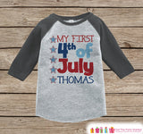 My First 4th of July Onepiece or Tshirt - Kids 4th of July Outfit - Grey Raglan Shirt, Baseball Tee - Fourth of July Baby, Toddler, Youth - Get The Party Started