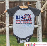 Boys 4th of July Outfit - Custom Big Brother Onepiece or Tshirt - Kids Grey Raglan Shirt, Baseball Tee - Kids Patriotic Shirt - 4th of July