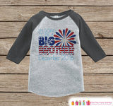 Boys 4th of July Outfit - Custom Big Brother Onepiece or Tshirt - Grey Raglan Shirt, Baseball Tee - Pregnancy Announcement- Fourth of July