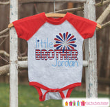 Boys 4th of July Outfit - Custom Little Brother Onepiece or Tshirt - Red Raglan Shirt, Baseball Tee - Pregnancy Reveal Idea - Fourth of July