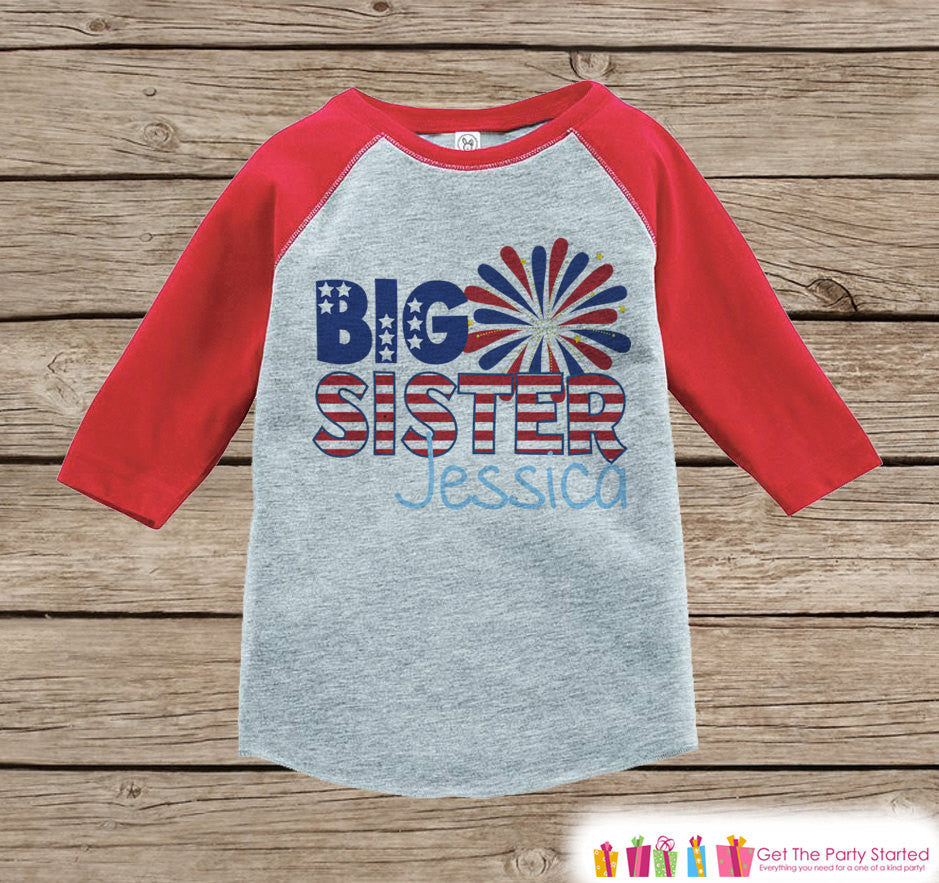 4th of July Outfit - Custom Big Sister Onepiece or Tshirt - Red Raglan Shirt, Baseball Tee - Pregnancy Announcement- Fourth of July - Get The Party Started