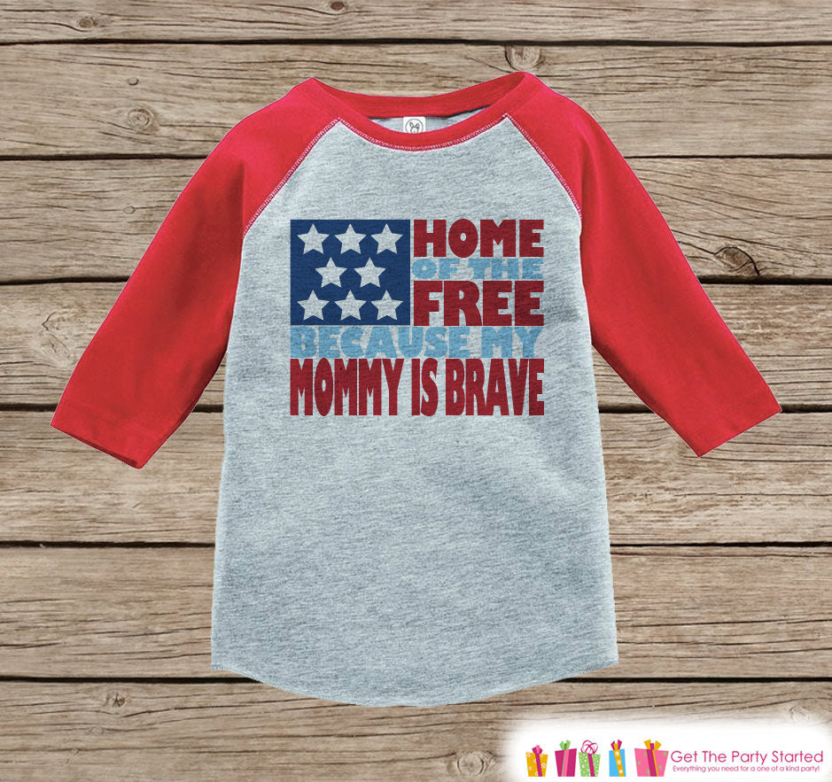 4th of July Outfit - Military Mom Onepiece or Tshirt - Kids Red Raglan, Baseball Shirt - Mommy Is Brave Onepiece or T-shirt - Fourth of July