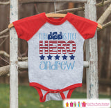 4th of July Outfit - Custom Dad Is My Hero Onepiece or T-shirt - Red Raglan Shirt, Baseball Tee - Fourth of July Shirt Baby, Youth, Toddler