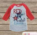 Kids First 4th of July Outfit - Custom Red White and Cute Onepiece or T-shirt - Red Raglan Shirt, Baseball Tee - Fourth of July Shirt