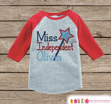 Kids First 4th of July Outfit - Custom Miss Independent Onepiece or T-shirt - Red Raglan Shirt, Baseball Tee - Fourth of July Shirt - Get The Party Started