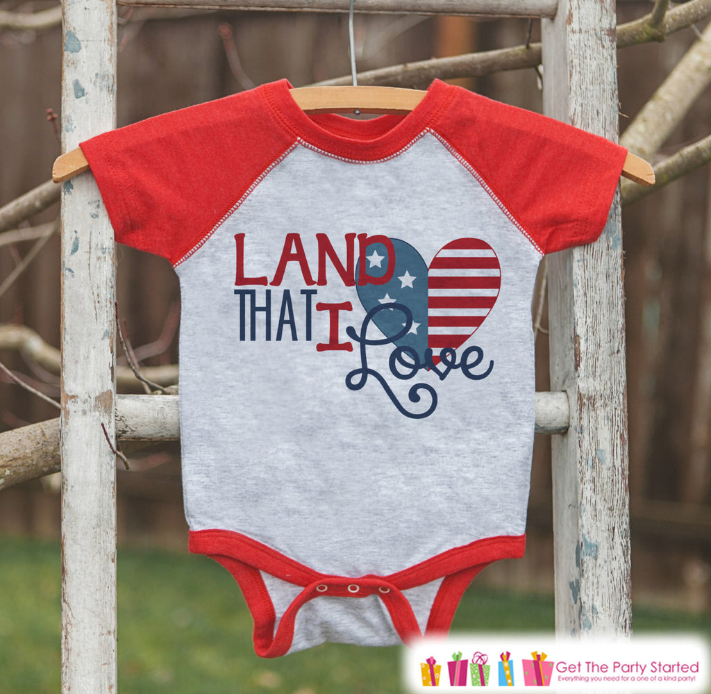Kids Land That I Love Outfit - 4th of July Onepiece or T-shirt - Red Raglan Shirt, Baseball Tee - American Pride Shirt, Baby, Toddler, Youth - Get The Party Started