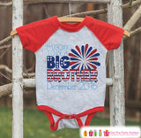 Boys 4th of July Outfit - Custom Big Brother Onepiece or Tshirt - Red Raglan Shirt, Baseball Tee - Pregnancy Announcement- Fourth of July