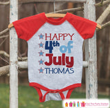 Kids Happy 4th of July Outfit - Custom Onepiece or T-shirt - Red Raglan Shirt, Baseball Tee - American Pride Shirt, Baby, Toddler, Youth - Get The Party Started