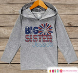 Girls 4th of July Outfit - Custom Big Sister Hoodie - Children's Pullover - Grey Toddler Hoodie - Infant Hoodie - Kids Fourth of July
