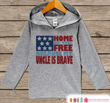 Kids 4th of July Outfit - Uncle Is Brave Hoodie - Children's Pullover - Grey Toddler Hoodie - Infant Hoodie - Fourth of July, Military Pride