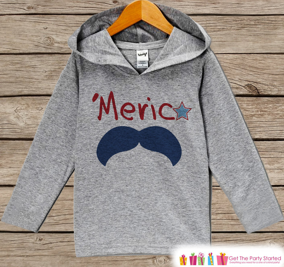 Kids 4th of July Outfit - 'Merica Mustache Hoodie - Children's Pullover - Grey Toddler Hoodie - Infant Hoodie - Fourth of July - USA Pride - Get The Party Started
