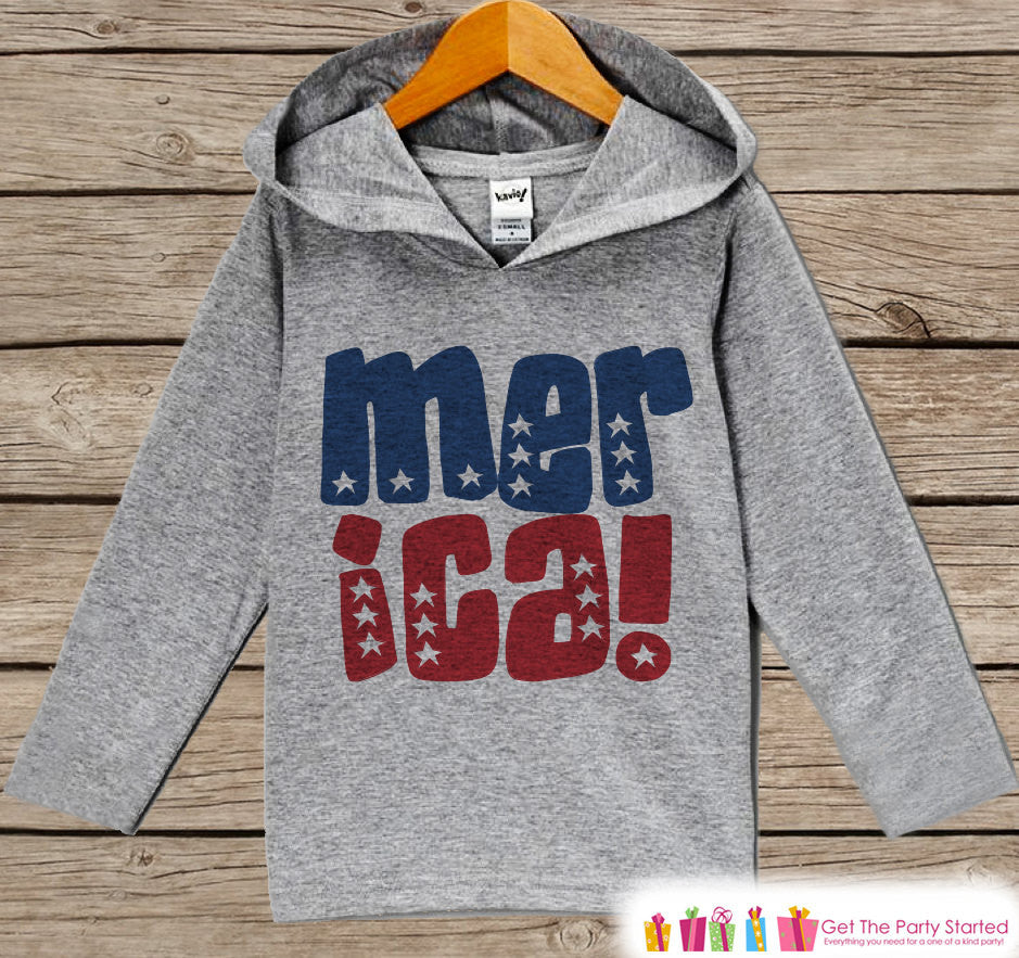 Kids 4th of July Outfit - 'Merica Stars Hoodie - Children's Pullover - Grey Toddler Hoodie - Infant Hoodie - Fourth of July - USA Pride - Get The Party Started