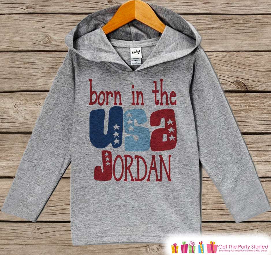 Kids 4th of July Outfit - Born in the USA Hoodie - Custom Children's Pullover - Grey Toddler Hoodie - Infant Hoodie - Fourth of July - Get The Party Started