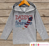 Kids 4th of July Outfit - Daddy's Little Firecracker Hoodie - Custom Children's Pullover - Grey Toddler or Infant Hoodie - Fourth of July