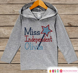 Girls Miss Independent Hoodie - Kids 4th of July Outfit - Children's Pullover - Grey Toddler Hoodie - Infant Hoodie - Fourth of July Pride - Get The Party Started