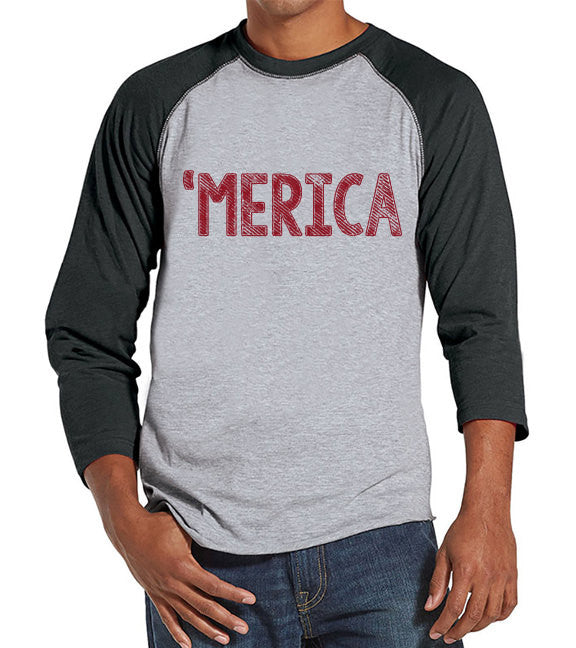 Men's 4th of July Shirt - 'Merica Shirt - Grey Raglan Shirt - Men's Grey Baseball Tee - Funny Fourth of July Shirt - USA Pride - Get The Party Started