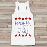 4th of July Tank Top - Women's 4th of July Tank - White Flowy Tank - Fourth of July Shirt - American Pride Top - Fourth of July Outfit - Get The Party Started