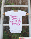 Kid's Cancer Awareness Outfit - Brave Women Run In My Family Onepiece or Tshirt - Race Team Outfit - Fight Cancer Shirt for Babies, Toddlers - Get The Party Started