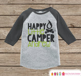Boy's Happy Little Camper Outfit - Grey Raglan Shirt, Onepiece - Kids Baseball Tee - Custom Camp Shirt for Baby, Toddler, Youth - Adventure