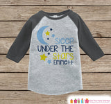 Kid's Sleep Under the Stars Outfit - Grey Raglan Shirt or Onepiece - Kids Baseball Tee - Custom Camping Shirt for Baby, Toddler, Youth - Get The Party Started