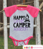 Girl's Happy Little Camper Outfit - Pink Raglan Shirt, Onepiece - Kids Baseball Tee - Custom Camp Shirt for Baby, Toddler, Youth - Adventure