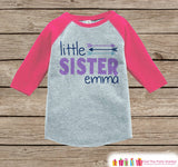 Girl's Little Sister Outfit - Pink Raglan Shirt, Onepiece - Kids Baseball Tee - Custom Camping Shirt Baby, Toddler, Youth - Adventure Outfit