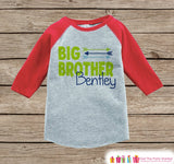 Boy's Big Brother Outfit - Red Raglan Shirt, Onepiece - Kids Baseball Tee - Custom Camping Shirt Baby, Toddler, Youth - Adventure Outfit