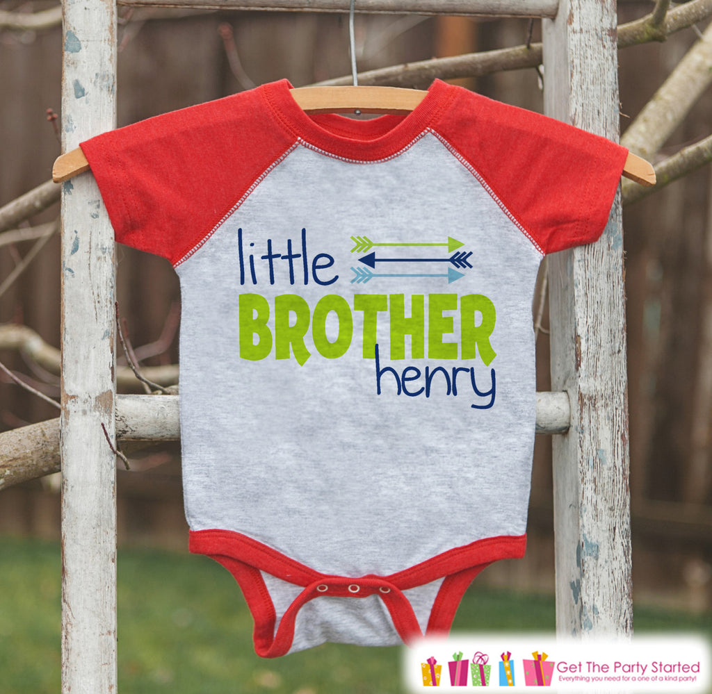 Boy's Little Brother Outfit - Red Raglan Shirt, Onepiece - Kids Baseball Tee - Custom Camping Shirt Baby, Toddler, Youth - Adventure Outfit
