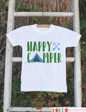 Kid's Happy Camper Outfit - White Shirt or Onepiece - Camping Tent T-Shirt - Camp T Shirt for Baby, Toddler, or Youth - Adventure Clothing - Get The Party Started